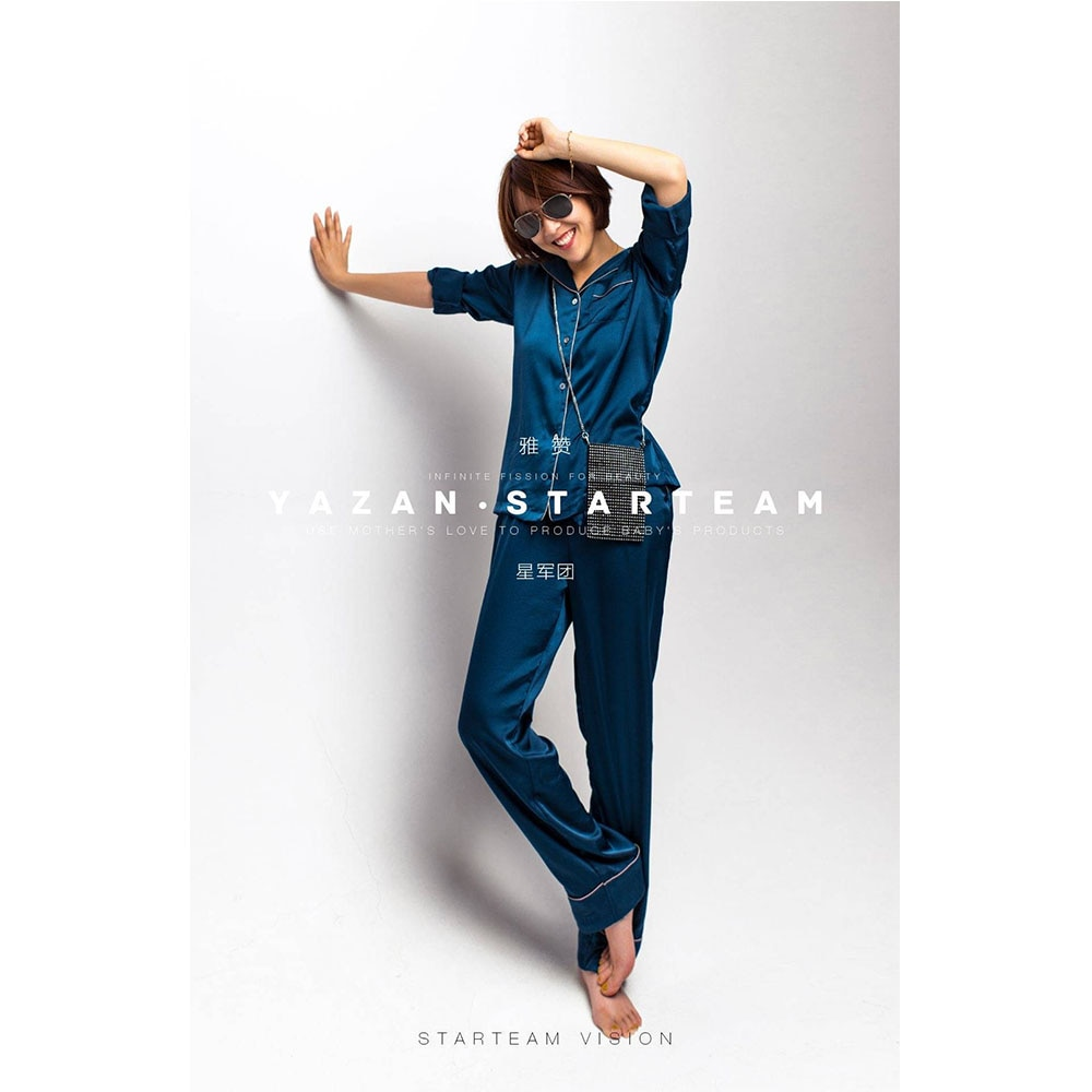 YAZAN Women's Pajamas Set Best Selling Style 100% Polyester Silky Slippery Pajama Set Lapel Women's Casual Home Wear enlarge