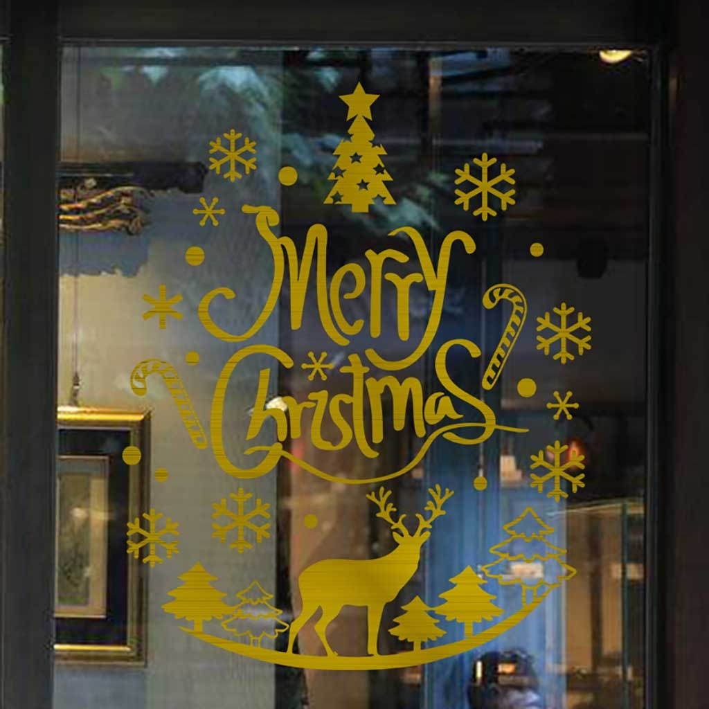 KAKUDER-pegatina de pared extraíble de Navidad para decoración del hogar, vinilo decorativo,...