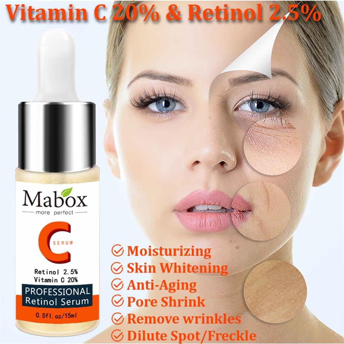 15ml mabox 20% vitamina c soro 2.5% retinol rosto soro ácido hialurónico clareamento anti-envelhecimento enrugamento essência
