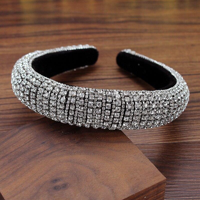 Diadema de diamantes de cristal de Color plateado claro brillante ancho, tocado de diamantes de imitación con lentejuelas, accesorios para el cabello de moda para mujer