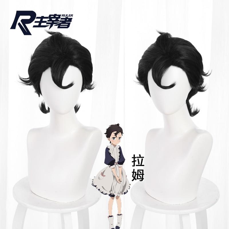 Game Wig Black Big Back Head Shape Upturned Short Hair Cos Anime Wig 514E Anime Accessories