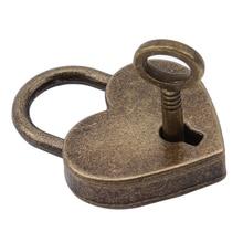 Antique Bronze Furniture Heart Shape Lock Ornaments Luggage Zinc Alloy Padlock For Women Bag Lock Hardware Accessories