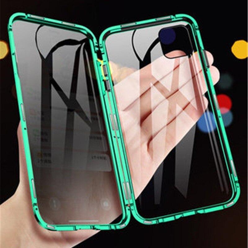 Funda magnética Anti-peeping para iPhone XR XS Max X XS 7 8 6 6S Plus Protector de pantalla de privacidad cubierta de vidrio templado