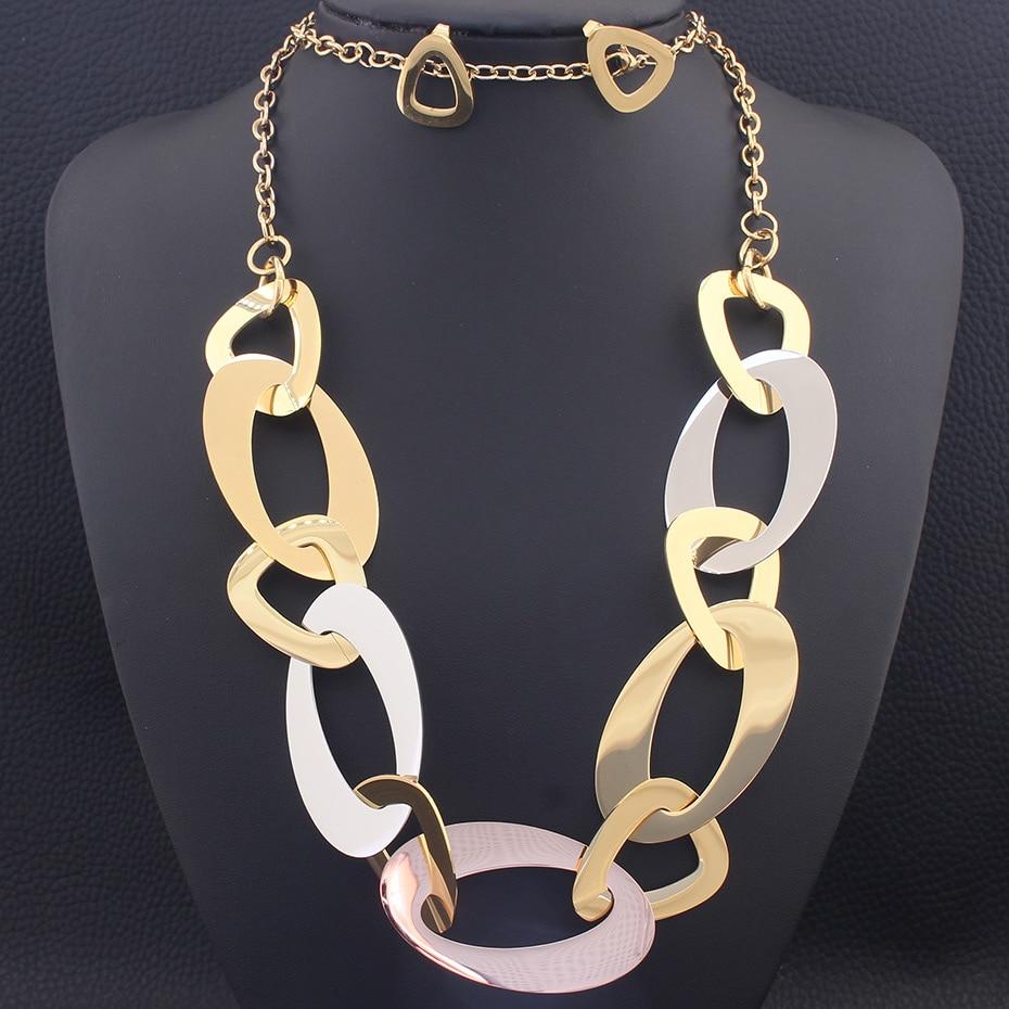 Cadenas largas de 82CM, suéter, collar redondo y pendientes de tuerca, juegos de joyas de acero inoxidable a la moda para mujer SEDZCDDA