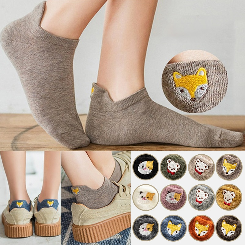 New Ankle Socks Fashion Kawaii Embroidered Expression Women Funny Fox Cotton Cute Multicolor