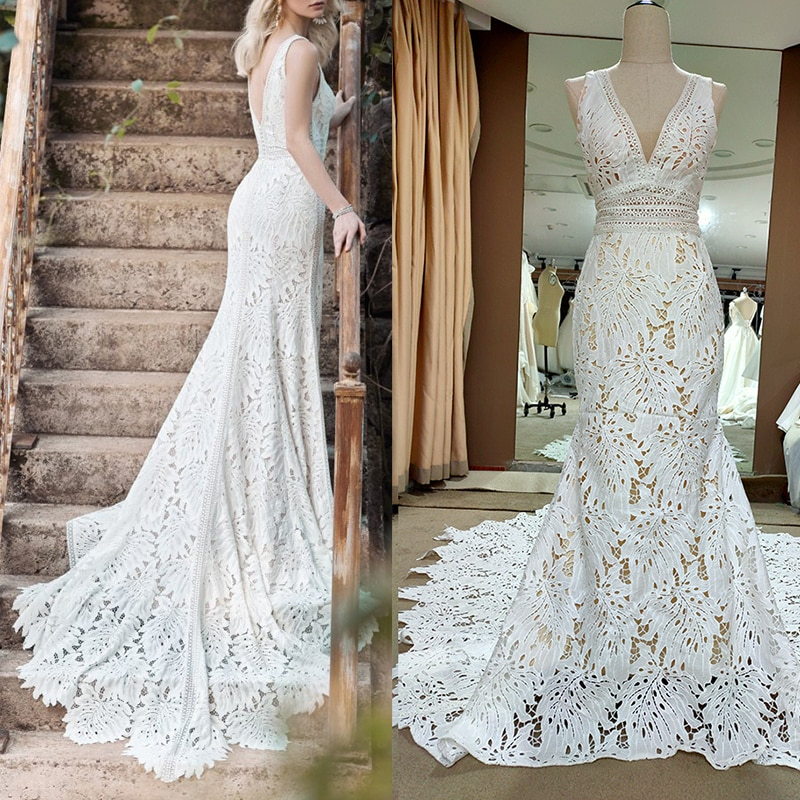 Get V Neck Cut Out Lace Wedding Dress Sexy Plus Size Sleeveless Rustic Garden Elegant 2020 Real Photos Bridal Gown With Train #4071