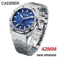 Часы наручные мужские механические Автоматические, брендовые Роскошные повседневные деловые синие, Водонепроницаемость 100 м, 42 мм, NH35A
