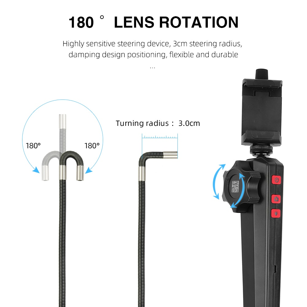 HD 1080P 6MM/8MM 180 Degree Steering Industrial Borescope Endoscope Camera Car Inspection Camera With 6LED For Iphone Android 1M