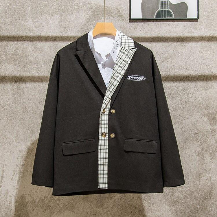 Moda coreana para hombres chaqueta Casual suelto de manga larga simple chaqueta...