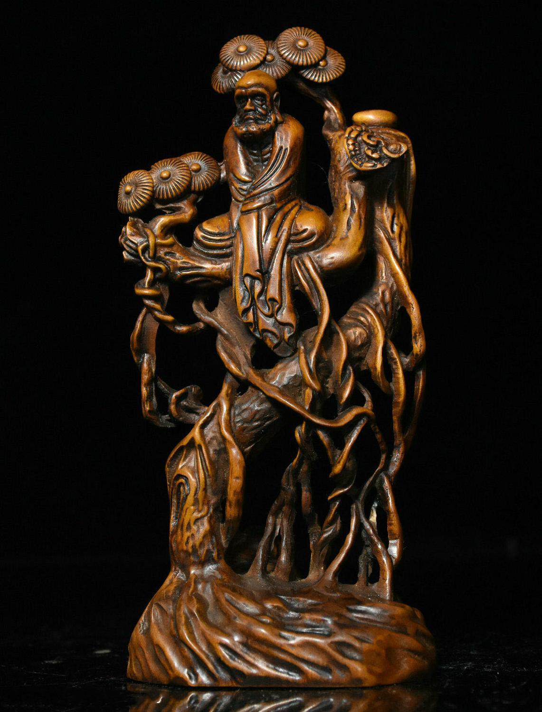Decoración de boda, budismo chino, estatua de madera de boj tallada Arhat Damo Bodhidharma Dharma Buddha