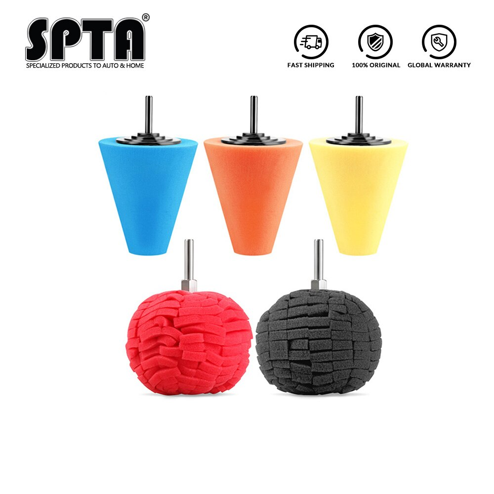 SPTA Polieren Schwamm Kegel Metall Polieren Schaum Kegel Pad Polieren Polieren Ball 3 zoll 80mm Für Auto Rad Hub pflege