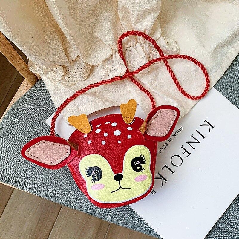 Cartoon Deer Children Mini Crossbody Bags PU Leather Girls Baby Shoulder Messenger Bag Princess Acce