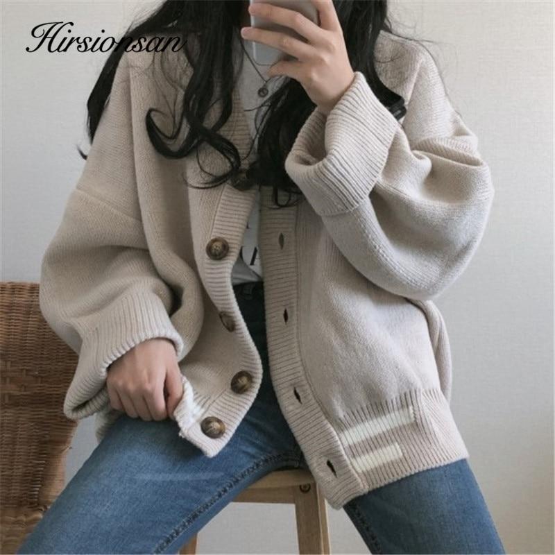 Hirsionsan malha cardigans camisola feminina cor sólida básico elengant ins botão novo topos oversized feminino quente casual overwear