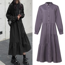 Plus Size Ruffle Dress Woman Spring Sundress ZANZEA 2020 Casual Long Sleeve Shirt Vestidos Female Lapel Loose button Solid Robe