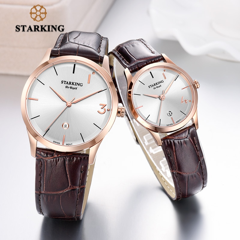 STARKING Lover's Watches Engraved Chinese Words Limited Edition Watch Sets Quartz Leather Couple Wrist Watch Men and Women Gifts