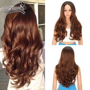 MS FLEGANCE Long Body Synthetic Wig Red Brown 20inch Wigs with Dark Roots Heat Resistant Fiber Hair With Natural Hair Female Wig