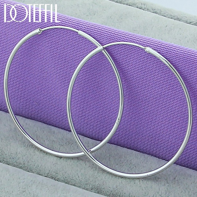 DOTEFFIL 925 Sterling Silver Smooth 50mm Big Circle Hoop Earrings For Women Wedding Engagement Party Jewelry nasia jewelry 925 sterling silver mystery rainbow crystal earrings for women girl ear hook style earrings engagement party decor