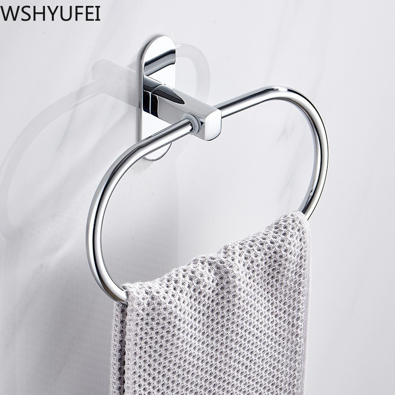 Toalla de estilo redondo sin perforar anillo de toalla de acero inoxidable de plata soporte de anillo de toalla de baño toallero decoración de muebles