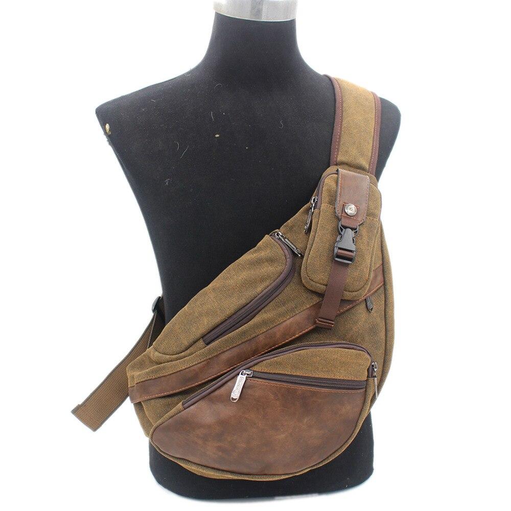 Мужской холщовый рюкзак-слинг, маленькая дорожная сумка, вместительный брендовый Однолямочный ранец через плечо