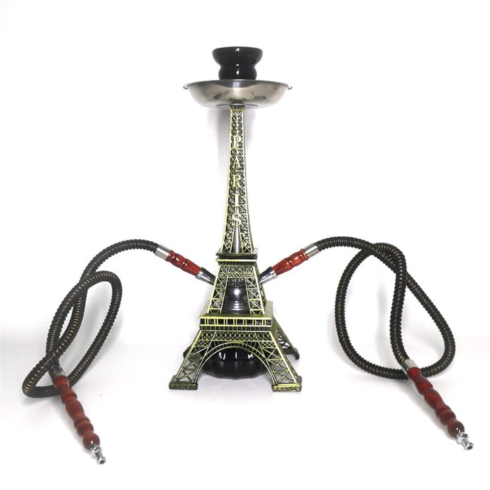 Venda Criativa Estilo Parisiense Ferro Torre Shisha Mangueira Dupla Vidro Hookah Conjunto Cerâmica Tigela Acessórios