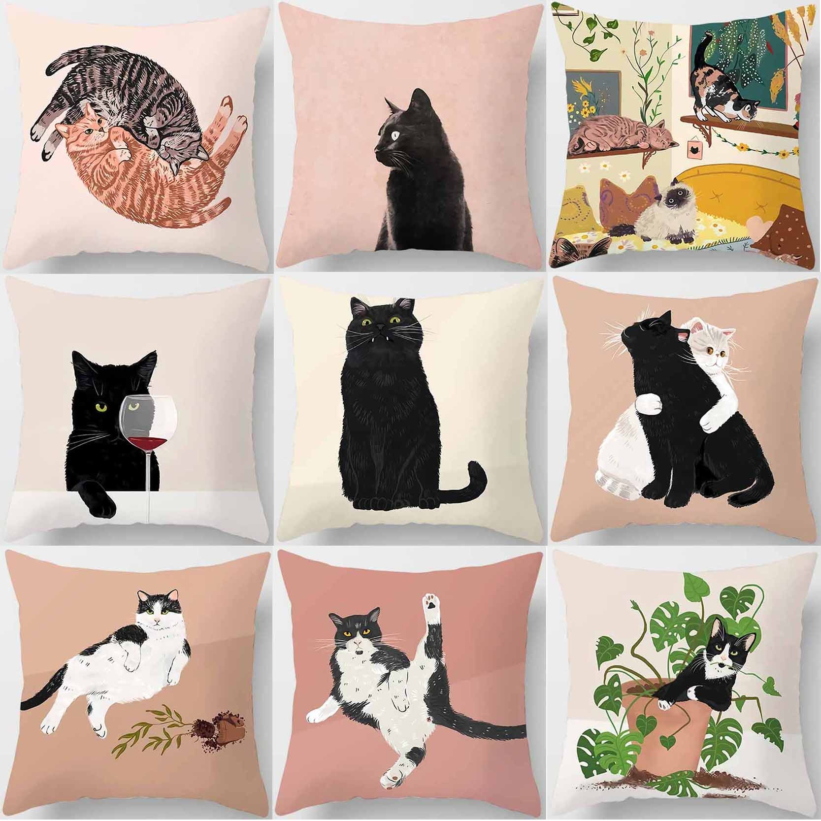 Кошка-досуг, квадратная наволочка, используется для украшения дома, Автомобильная подушка для дивана Cover45cm * 45 см