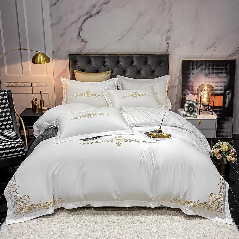 طقم أغطية سرير فاخر مع تطريز حريري مغسول على الوجهين ، غطاء لحاف ، غطاء وسادة مسطح ، وسائد ، منسوجات منزلية