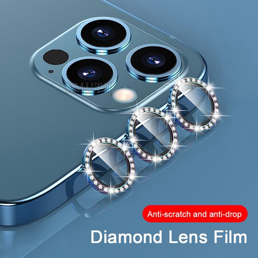 Lente de cámara de diamante para iPhone 12 11 Pro Max cristal...