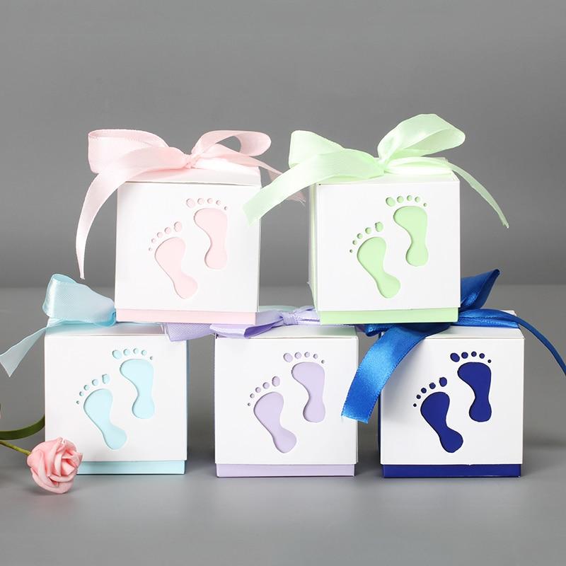 5 unids/lote Mini caja de dulces bebé pies patrón caja de papel lindo regalo embalaje cajas de cartón regalo caja de joyería