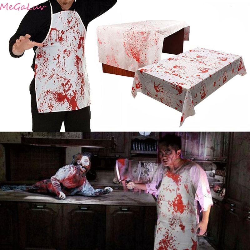 Halloween Bloody Handprint mantel delantal de juego de rol Horror Dress Up Prop Axe pegatina de calavera Halloween pegatina de pared decoración del hogar