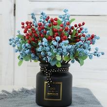 Simulation Fruits Christmas Berry Blueberry Single Branch Foam Plants Artificial flowers DIY Wedding Garden Office Home Decor