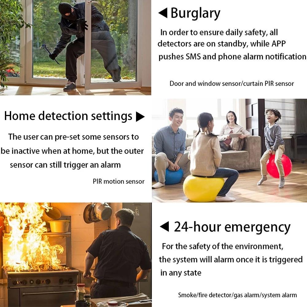 Zonan SOS Alarm Security System WiFi Tuya GSM Home Burglar Security Alarm Protection APP Control PIR Motion Sensor With Siren enlarge