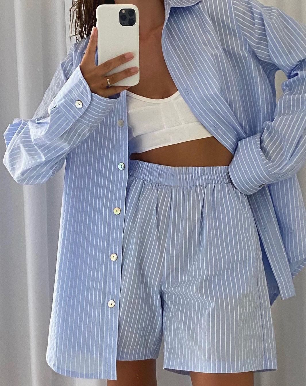 Women Lounge Wear Tracksuit Casual Turn-down Collar Stripe Shirts Shorts Set Fashion Long Sleeve Loo