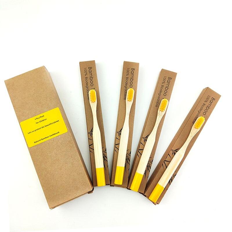 Cepillo de dientes de bambú Natural para niños de 4 piezas cepillo de dientes portátil de pelo medio respetuoso con el medio ambiente herramientas DE CUIDADO DE LIMPIEZA Oral