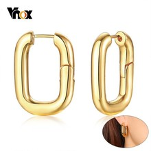 Vnox Carabiner Designed Earrings for Women Gold Tone Stainless Steel Square Hoop Earring Her Gift
