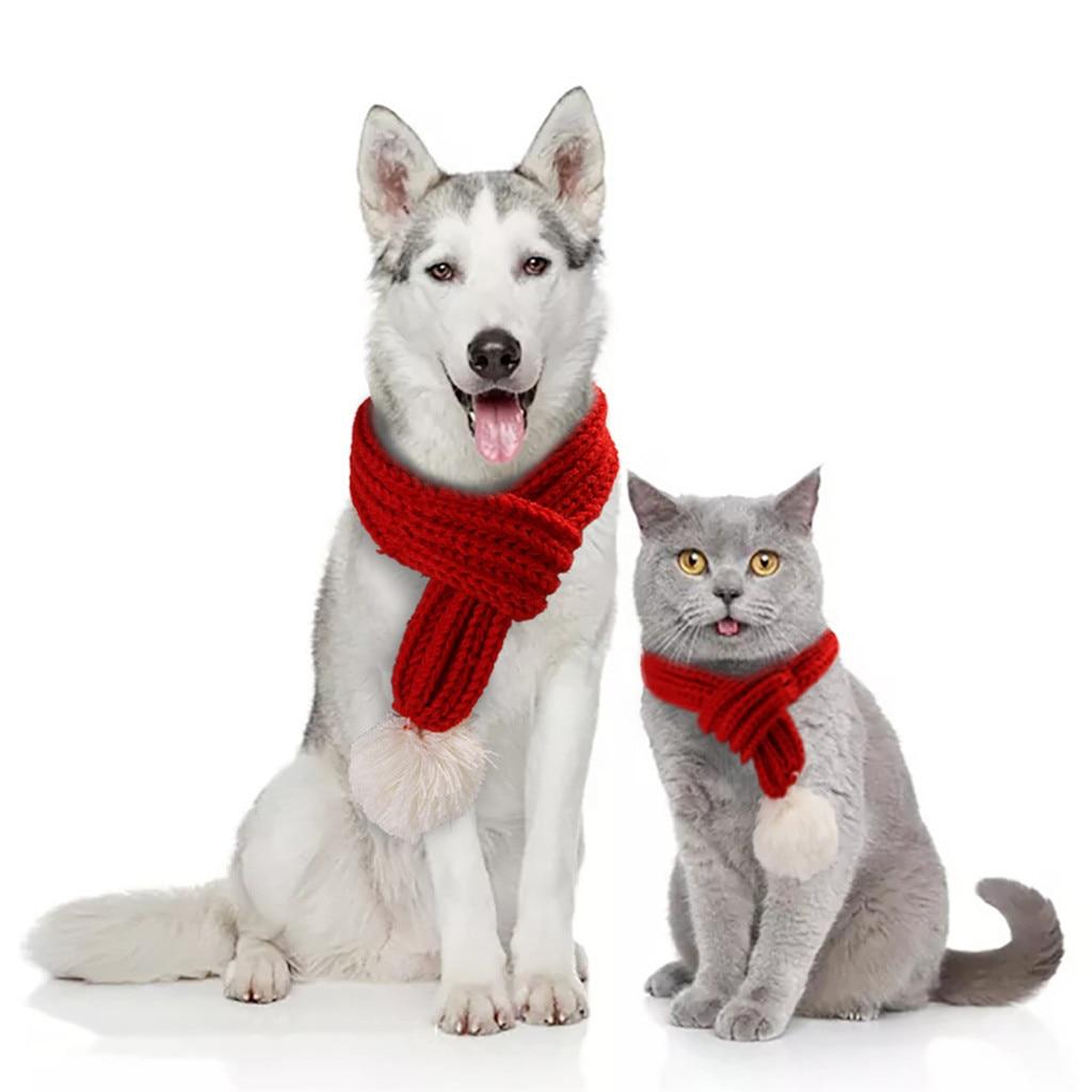 Bufandas de perro mascota de invierno cálido bufanda gruesa chal cuello de punto gato bufanda para Navidad accesorios de aseo para mascotas #0819y30