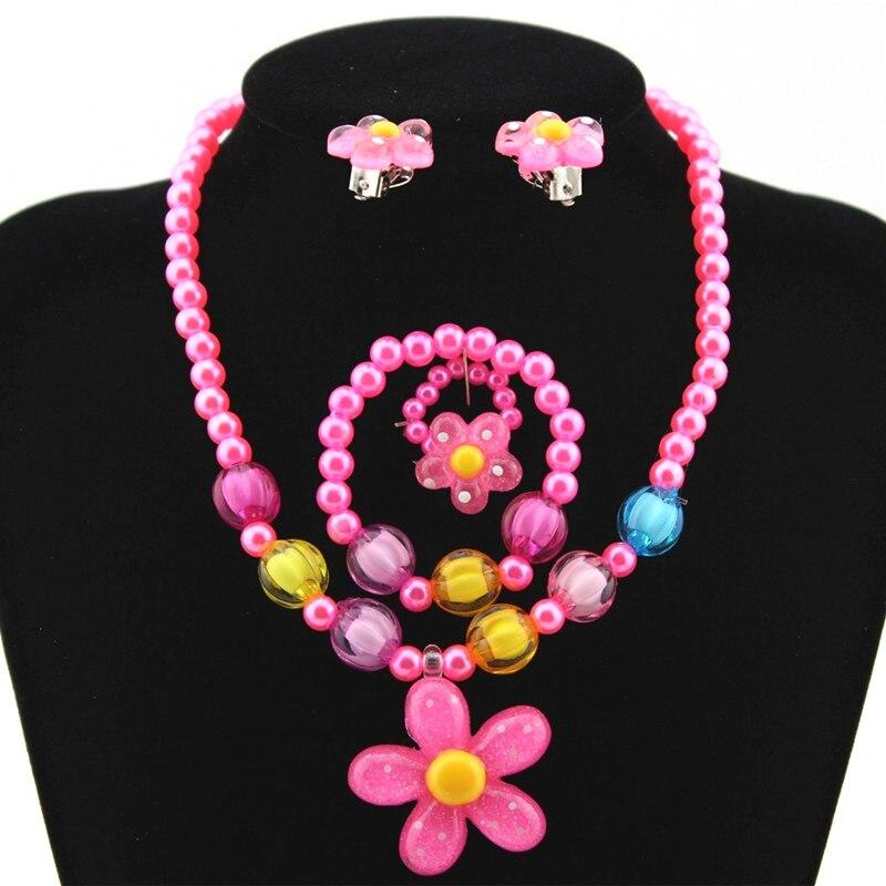 4 unids/set de perlas de imitación para niñas con cuentas de flores de sol, pulsera, anillos, pendientes, conjunto de joyas, regalo para el Día de los niños