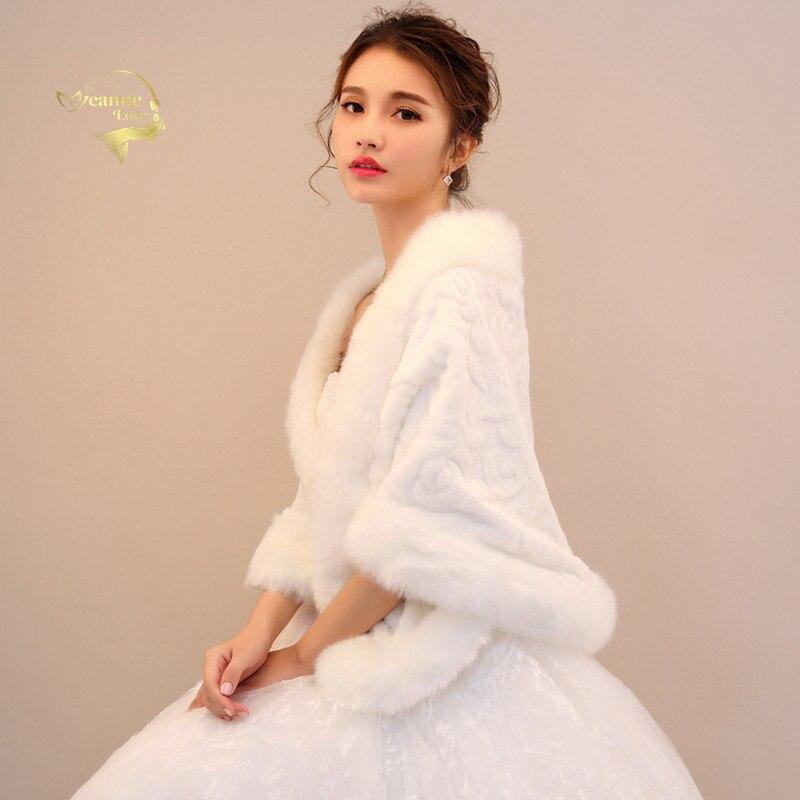 Falso pele de noiva xale envolve casamento mulher encolher de ombros noiva casaco de inverno festa de casamento boleros jaqueta capa capa para cima frete grátis