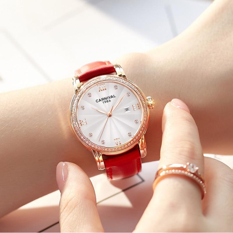 CARNIVAL Brand Ladies Fashion Rose Gold Watch Women Luxury Waterproof Calendar Automatic Mechanical Wristwatch Relogio Feminino enlarge