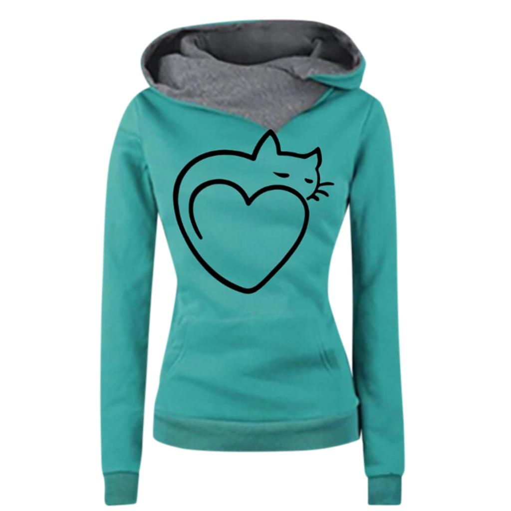 JAYCOSIN moda mujer otoño Casual Simple sudadera gato estampado bolsillo manga larga cómodo Popular suave suéter camisetas