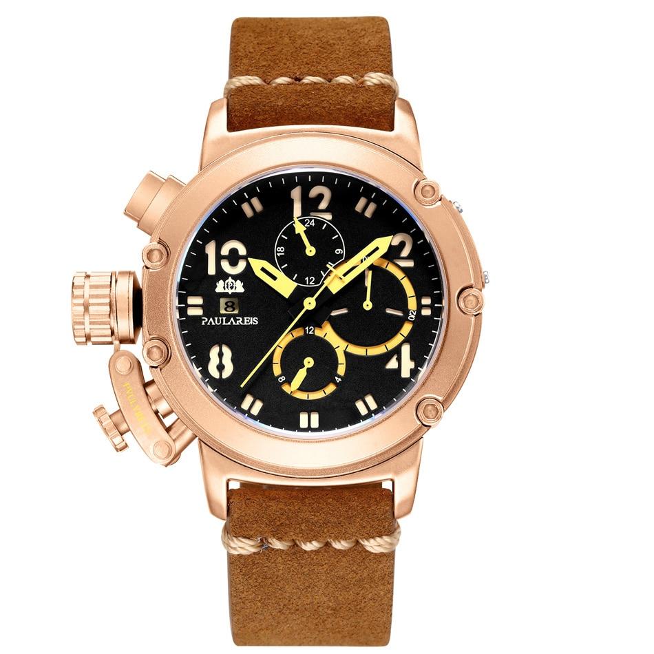 Automático de auto vento mecânico couro genuíno marrom multifunções data barco mês luminoso limitado ouro rosa bronze u relógio masculino