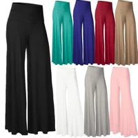 womens solid color wide leg pants tight fitting yoga pants fitness loose pants casual sports running beach pants