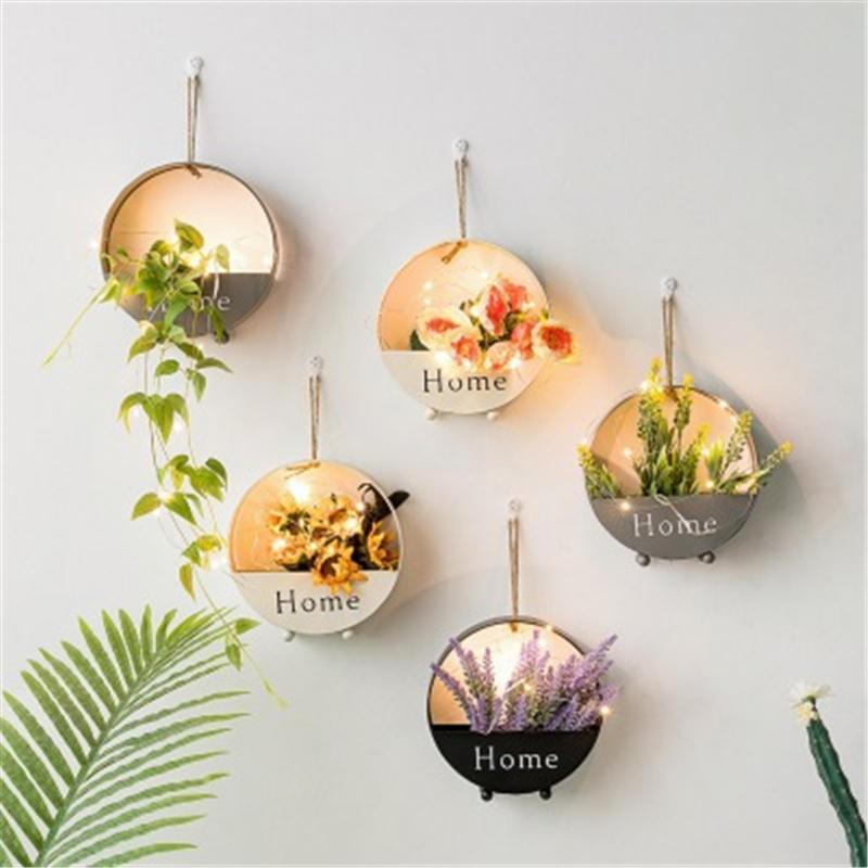 Estante colgante decorativo de Metal INS nórdico estante flotante Pastoral redondo decoración de pared para el hogar maceta con adornos de planta de flores soporte 1 pieza