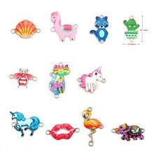 10 pçs cor aleatória adorável dos desenhos animados animal elefante unicórnio flamingo esmalte liga conectores colar pingente para o miúdo jóias