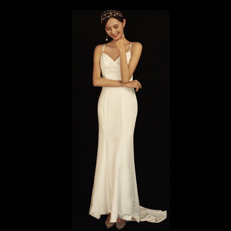 Get 2021luxury quality fashion women's suspender dress sexy backless white wedding dress dignified temperament elegant wedding dress