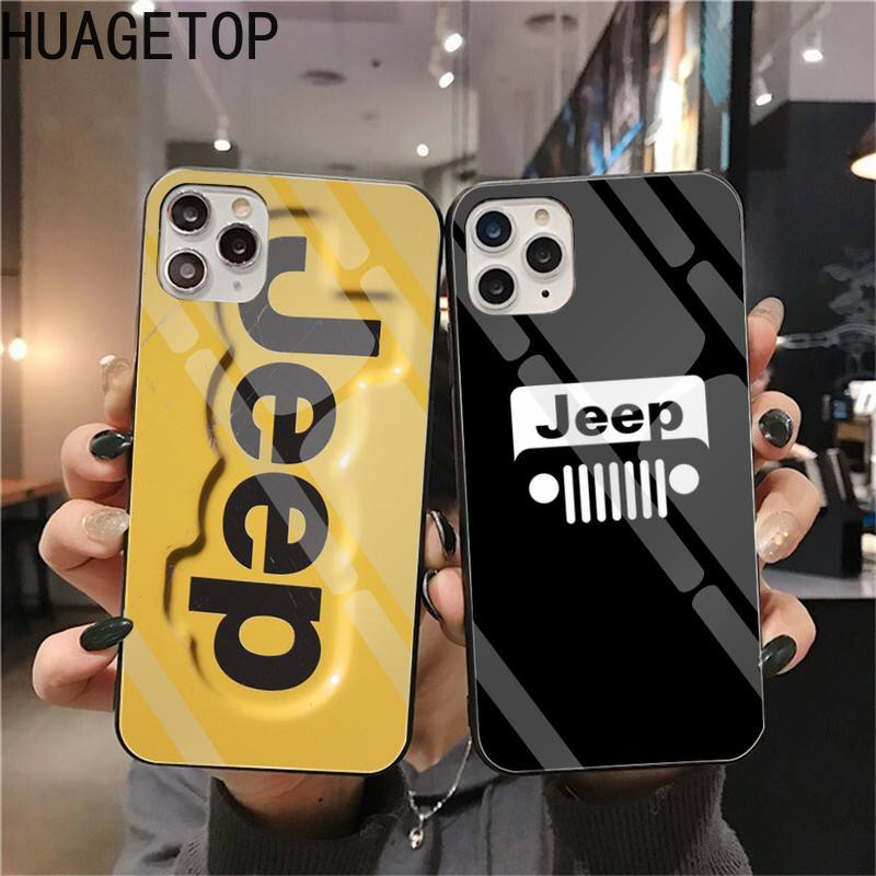 Coche Jeeps logotipo del teléfono cubierta de vidrio templado para iPhone 11 Pro XR XS MAX 8X7 6S 6 Plus Samsung S20 S9 S10 Plus Nota 8 9 10