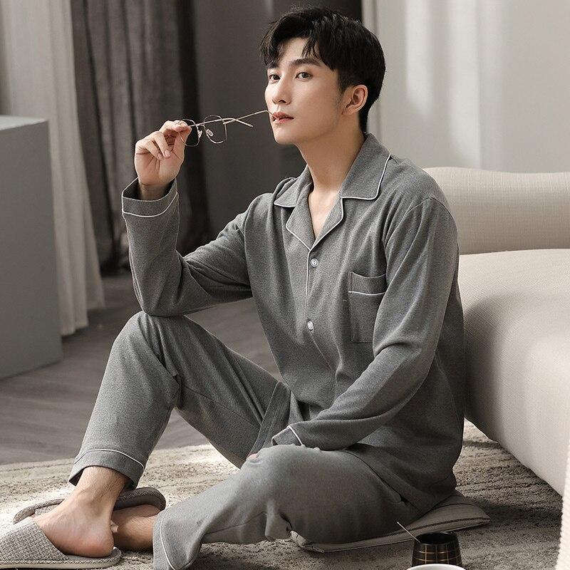 Autumn Winter 100% Cotton Pijama for Men 2 Pieces Lounge Sleepwear Pyjamas Gray Bedgown Home Clothes Man PJs Cotton Pajamas Set