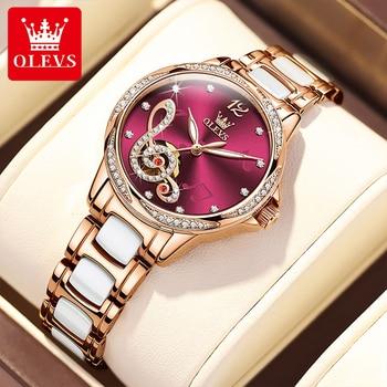 OLEVS New Fashion Women Casual Automatic Mechanical Movement Stainless Steel Ceramic Bracelet 30M Waterproof Luminous Watch 6656