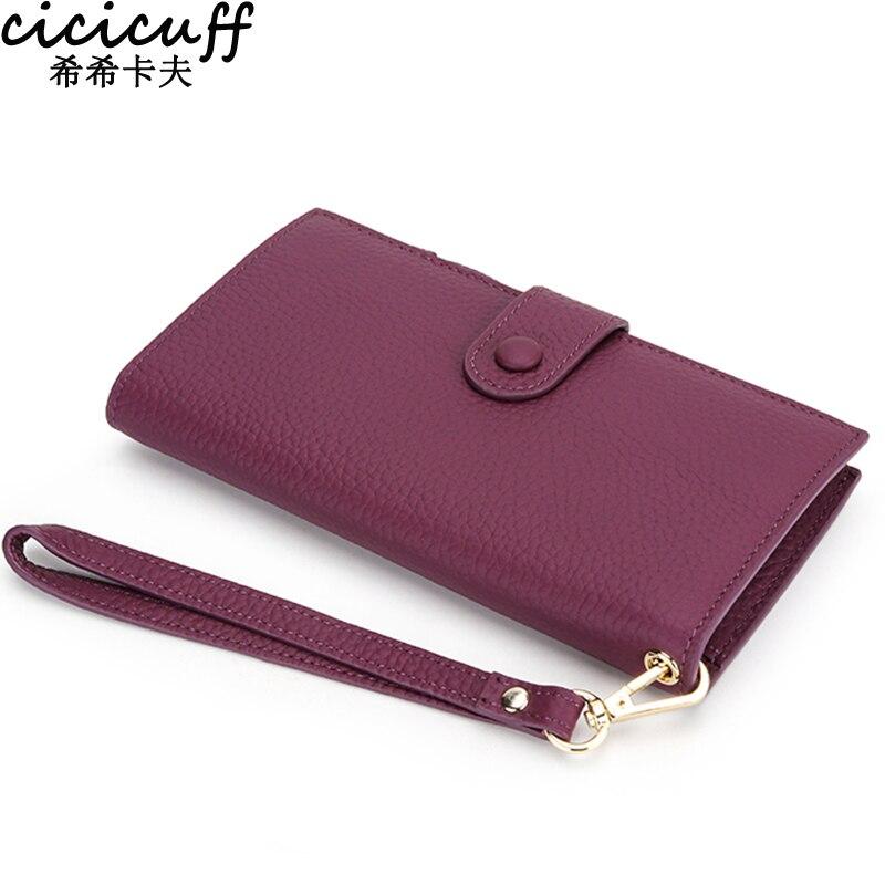 Женский кошелек из натуральной кожи, дамские бумажники и кредитницы, удлиненный клатч с монетницей, держатель для телефона
