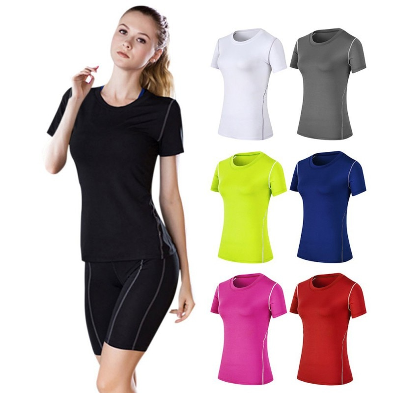 Women Short Sleeve Solid color Breathable  Loose Yoga Running fitness Workout Comfort T-shirt