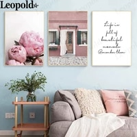 modern pink floral canvas poster peony flower letters painting wall art nordic home room decoration accessories